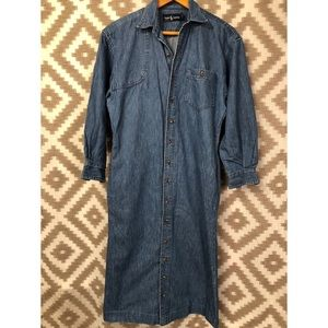 Ralph Lauren Dresses - Vintage Ralph Lauren Button Down Denim Midi Dress